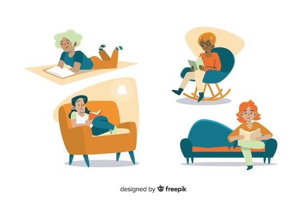 Giovani che leggono su un divano Vettore gratuito