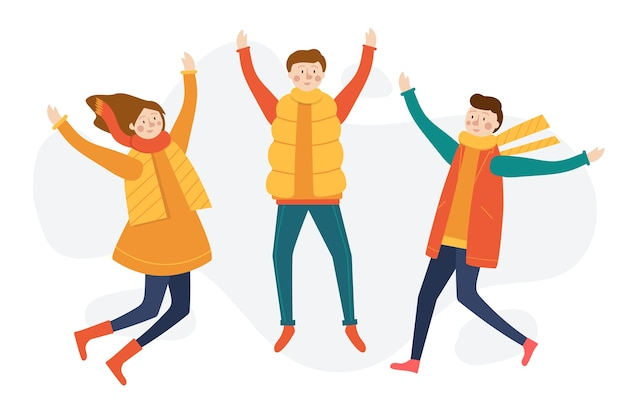 Giovani che saltano il fondo di stagione invernale Vettore gratuito