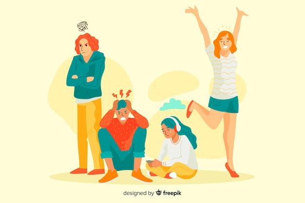 Giovani con diverse emozioni Vettore gratuito
