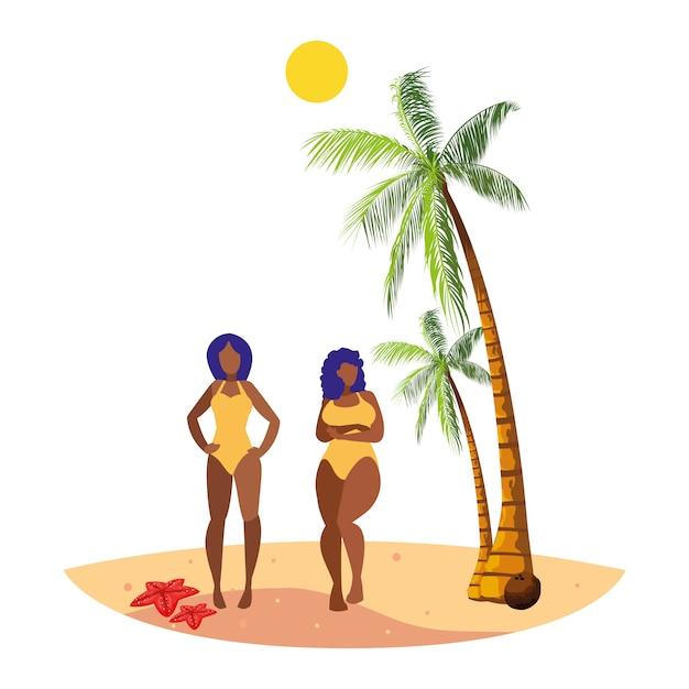 Giovani coppie afro ragazze sulla scena estiva spiaggia Vettore Premium