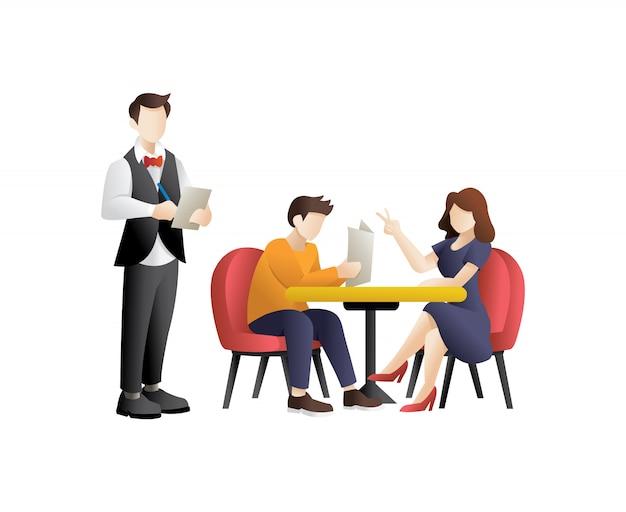 Giovani coppie cenando in un ristorante Vettore Premium