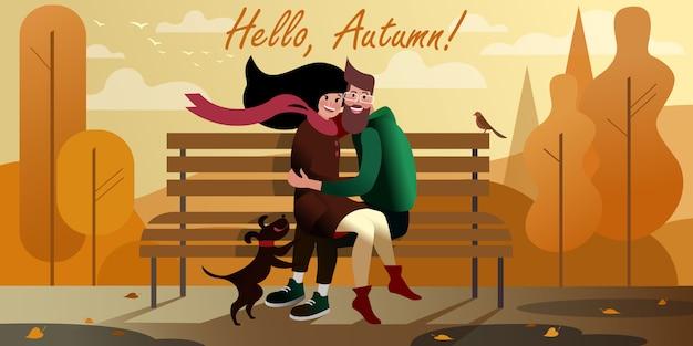 Giovani coppie che abbracciano su un banco nel parco della città di autunno. scena di strada della città. Vettore Premium