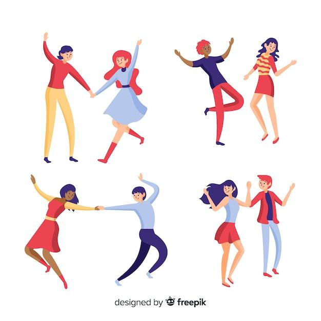 Giovani disegnati a mano che ballano Vettore gratuito