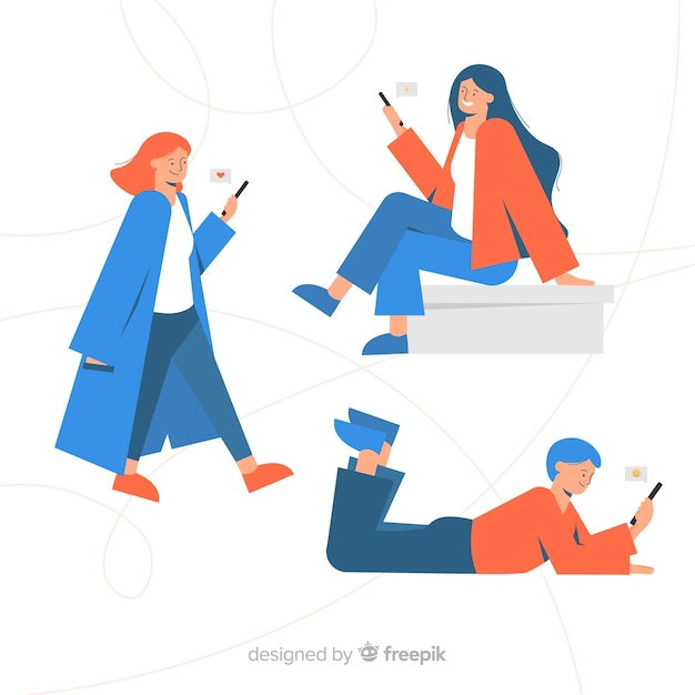 Giovani disegnati a mano che tengono gli smartphone Vettore gratuito