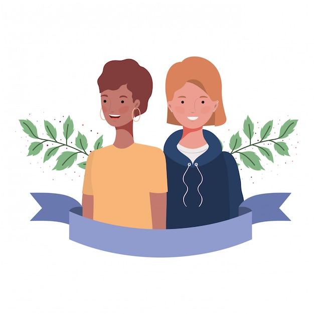 Giovani donne con rami e foglie Vettore Premium