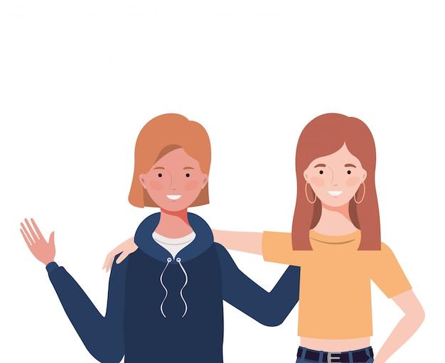 Giovani donne Vettore Premium