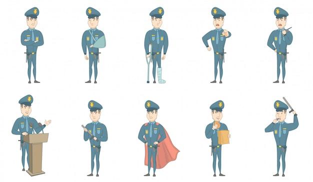 Giovani illustrazioni caucasiche di vettore del poliziotto messe Vettore Premium