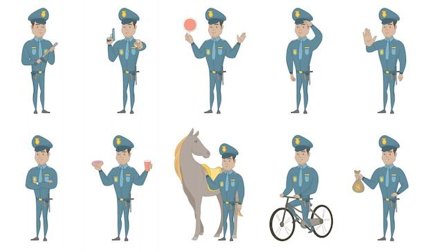 Giovani illustrazioni ispaniche del poliziotto messe Vettore Premium