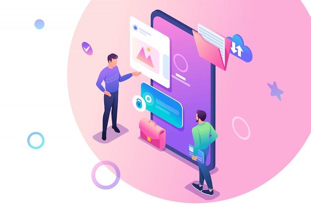 Giovani isometrici che stanno vicino allo schermo del telefono cellulare, l'uso dell'applicazione mobile. Vettore Premium