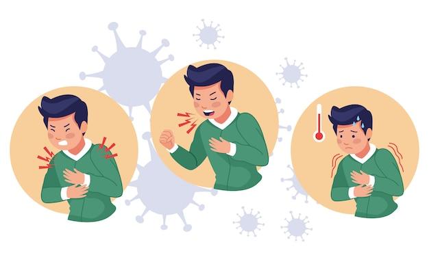 Giovani malati con sintomi covid19 Vettore Premium