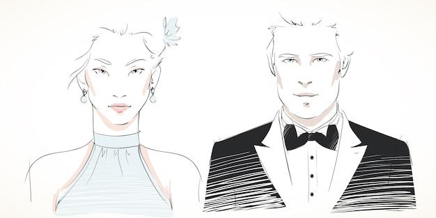 Giovani ritratti di coppia alla moda Vettore gratuito