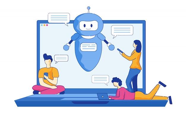 Giovani uomini e donne scrivono messaggi usando chatbot. Vettore Premium