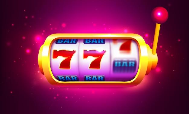 Gira e vinci slot machine con icone. banner del casinò online Vettore Premium