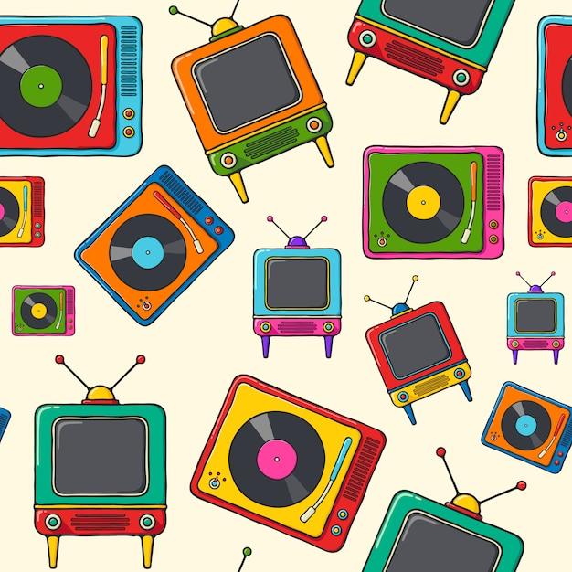 Giradischi e retro reticolo disegnato a mano di televisione pop art stile senza cuciture. Vettore Premium