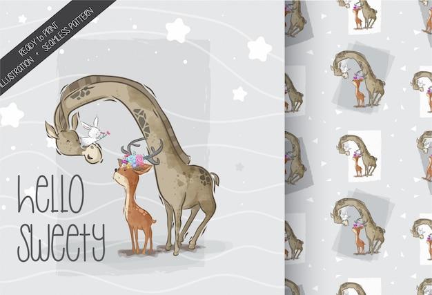 Girafe carino con bel cervo seamless pattern Vettore Premium