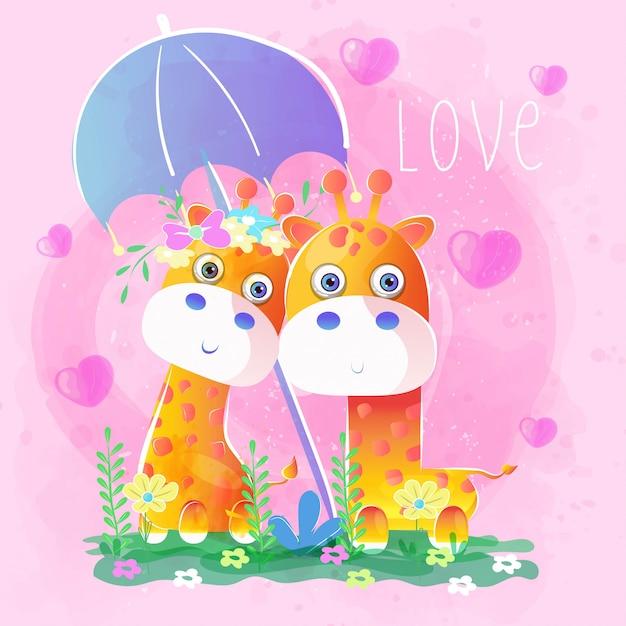 Giraffa delle coppie sotto un ombrello Vettore Premium