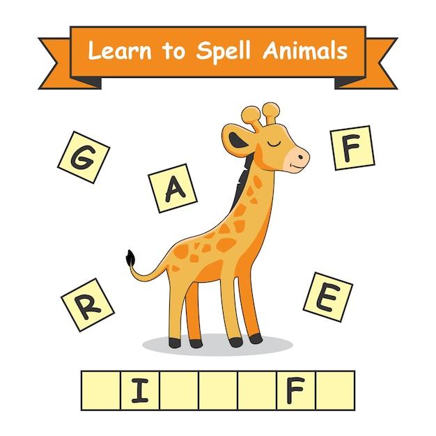 Giraffa impara a sillabare gli animali Vettore Premium