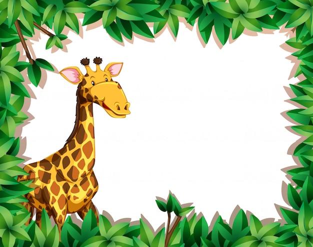 Giraffa in cornice foglia Vettore gratuito