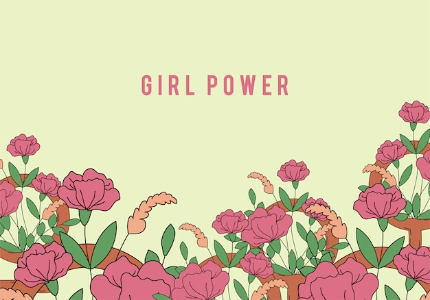 Girl power on floral background vector Vettore gratuito