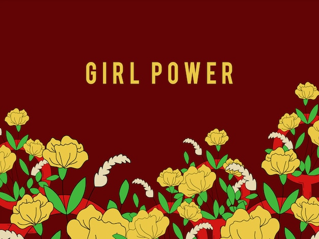 Girl power on floral background Vettore gratuito