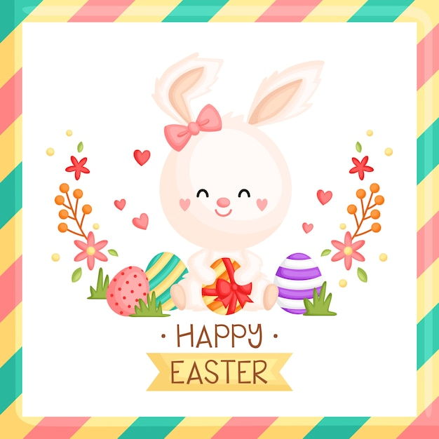 Girly easter bunny card Vettore Premium