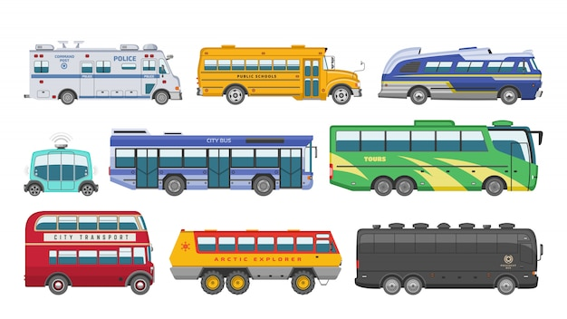 Giro di trasporto pubblico di vettore del bus o veicolo della città che trasporta i passeggeri scuolabus della polizia e automobile trasportabile Vettore Premium
