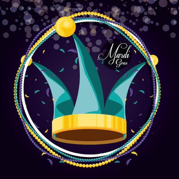 Giullare del cappello della celebrazione del martedì grasso Vettore Premium