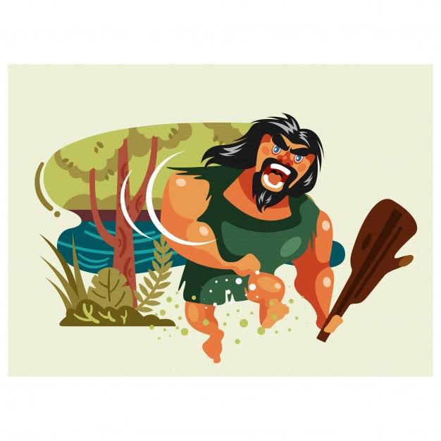Giungla antico uomo umano primordiale barbaro barbuto personaggio