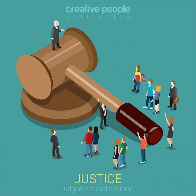 Giustizia e legge giudizio e decisione sessione del tribunale concetto di seduta giudiziaria piccole micro casual persone e giudice sul martelletto piatto isometrico. Vettore gratuito
