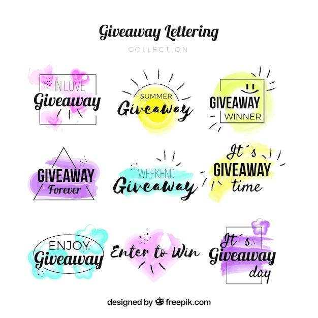 Giveaway lettering collezione per contest Vettore gratuito