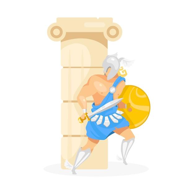 Gladiatore dietro l'illustrazione della colonna. perseo nascosto dietro il pilastro. combattente in armatura. guerriero con scudo e spada. uomo nella posa di difesa personaggio dei cartoni animati su fondo bianco Vettore Premium