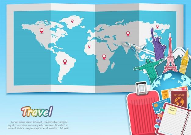 Gli accessori di viaggio intorno all'aria dell'aereo dell'estate dell'estate di concetto del mondo controllano con il punto di riferimento di fama mondiale della cima. Vettore Premium