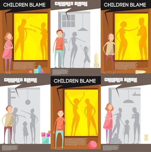 Gli adulti abusano di manifesti di bambini con personaggi infelici di adolescenti che guardano genitori litigiosi Vettore gratuito