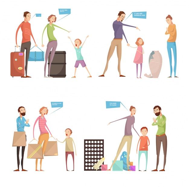 Gli adulti maltrattano le composizioni concettuali dei bambini messe con i genitori ed i caratteri dei bambini che hanno wi di litigio Vettore gratuito