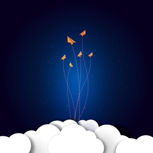 Gli aeroplani di carta volano su blu scuro Vettore Premium
