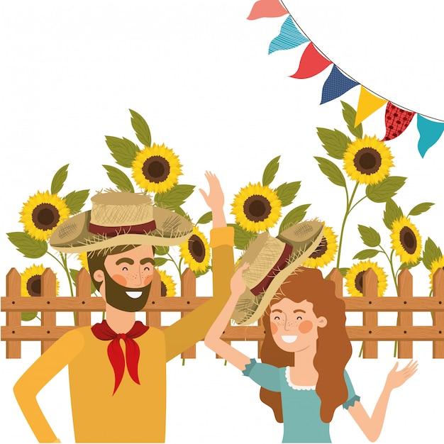 Gli agricoltori coppia parlando con cappello di paglia Vettore gratuito