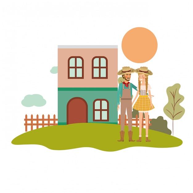 Gli agricoltori coppia parlando Vettore gratuito