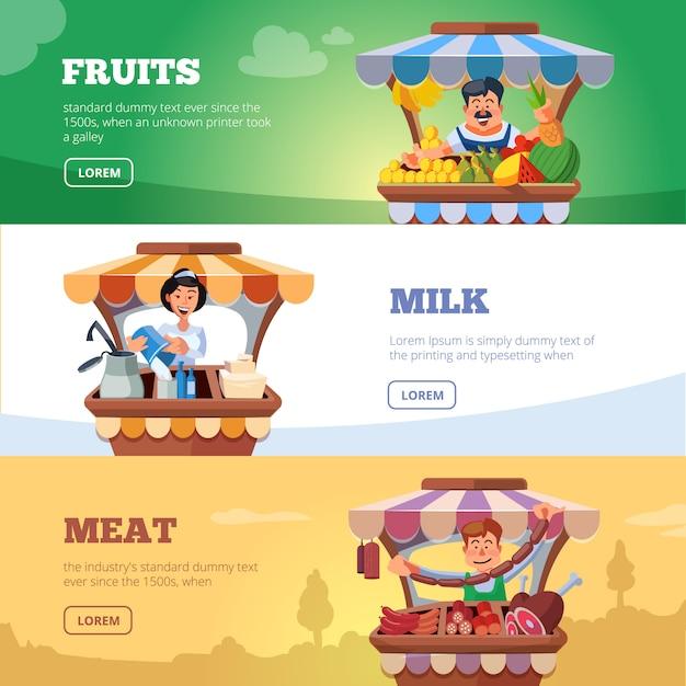 Gli agricoltori del mercato locale vendono verdure, latte e carne banner Vettore Premium