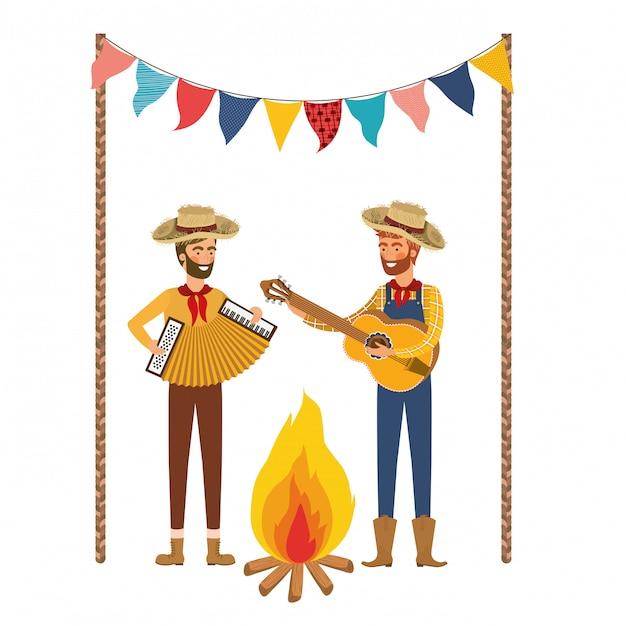 Gli agricoltori uomini con strumenti musicali Vettore gratuito