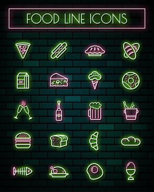 Gli alimenti assottigliano la linea d'ardore icone al neon messe. Vettore Premium