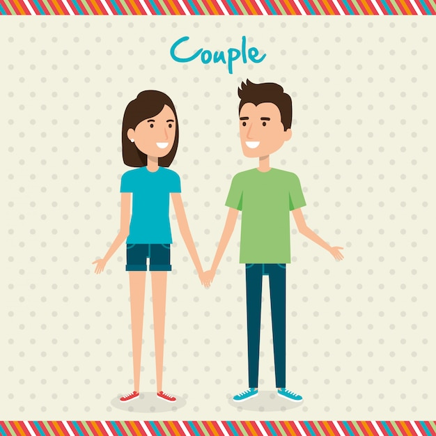 Gli amanti accoppiano personaggi di avatar Vettore gratuito