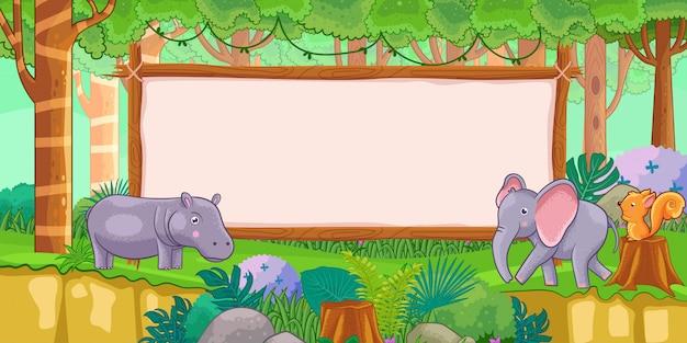 Gli animali con vuoto firmano dentro la foresta Vettore Premium