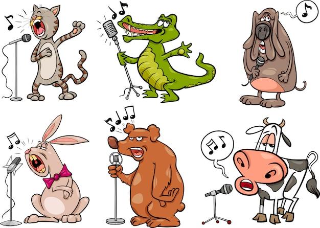 Gli animali di canto hanno messo l'illustrazione del fumetto Vettore Premium