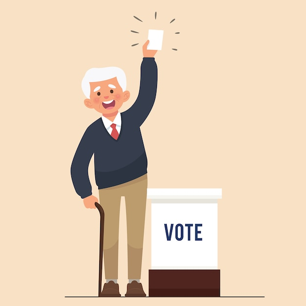 Gli anziani mostrano la carta per le elezioni pubbliche Vettore Premium