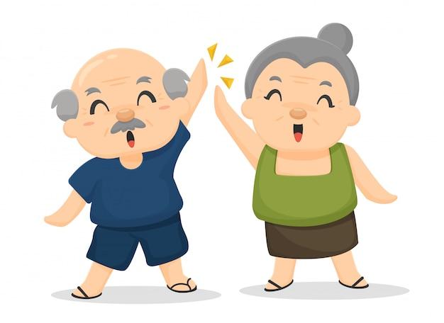 Gli anziani sono felici dopo aver ricevuto benefici per il benessere. post-pensionamento. Vettore Premium