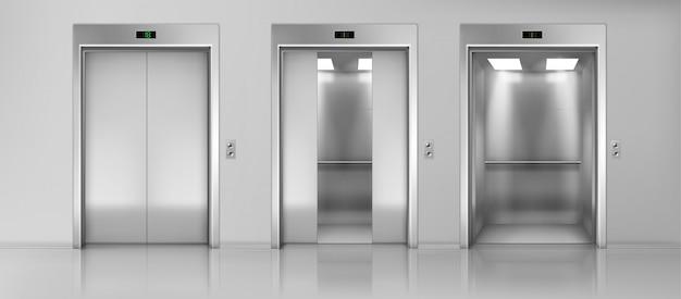 Gli ascensori svuotano le cabine sul vettore realistico del pavimento Vettore gratuito