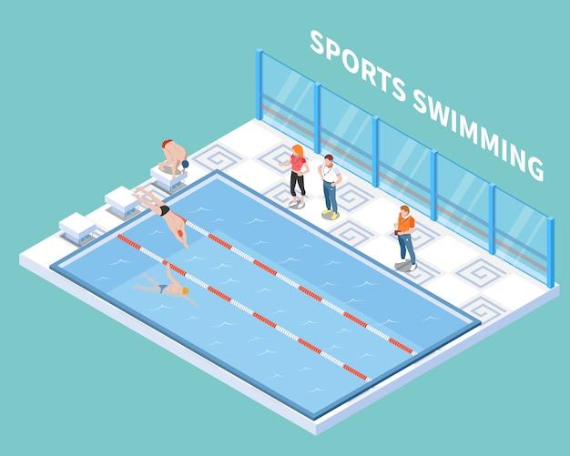 Gli atleti e gli allenatori durante gli sport nuotano l'allenamento nella composizione isometrica dello stagno pubblico su turchese Vettore gratuito