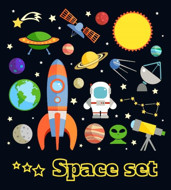 Gli elementi decorativi di astronomia e dello spazio hanno messo l'illustrazione di vettore isolata Vettore gratuito