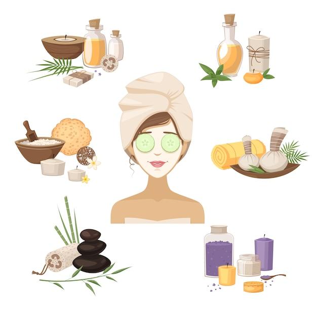 Gli elementi di bellezza della stazione termale con la maschera della donna lapida gli oli e screma l'illustrazione di vettore isolata Vettore gratuito