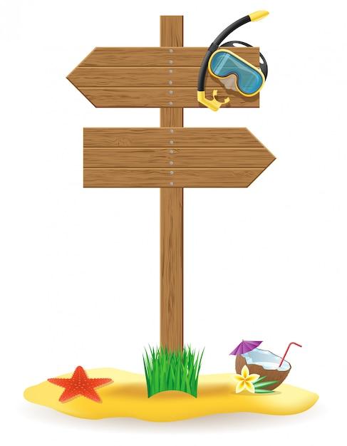 Gli elementi di legno del segno e della spiaggia del bordo dell'indicatore vector l'illustrazione Vettore Premium